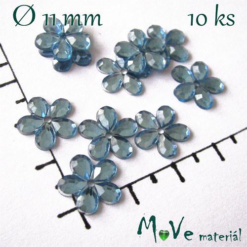 Květina plast Ø11mm našívací  10 ks modrá