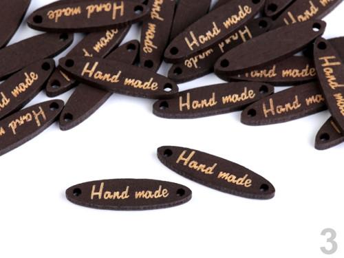 "Dřevěná cedulka \""Hand made\"" 6x27mm (10ks) - ořech"