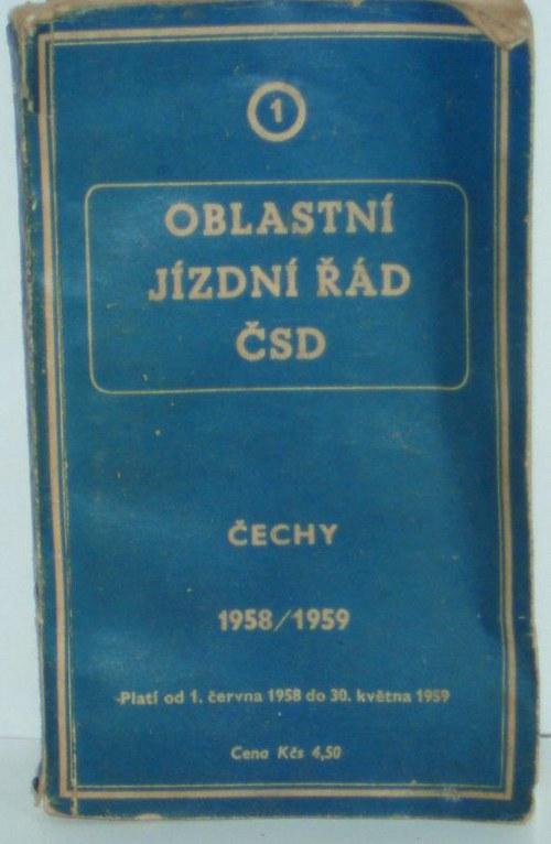 Oblastní jízdní řád ČSD z let 1958 / 1959