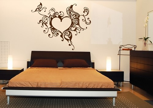 Samolepka na zeď - Srdce a motýli (31 x 25 cm)