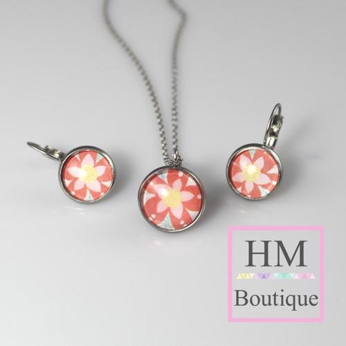 ocelový set -náušnice a náhrdelník květina