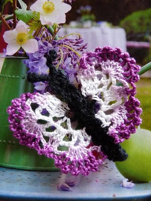 Aplikace 7x6 cm - motýl levandulový