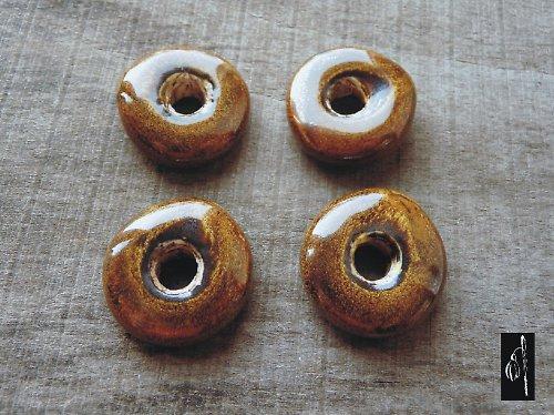 Keramický donut žlutý, 27 mm, 1 ks, sleva