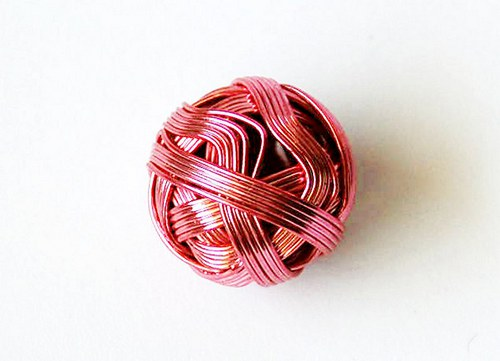 Kulička z drátu 18mm - růžová