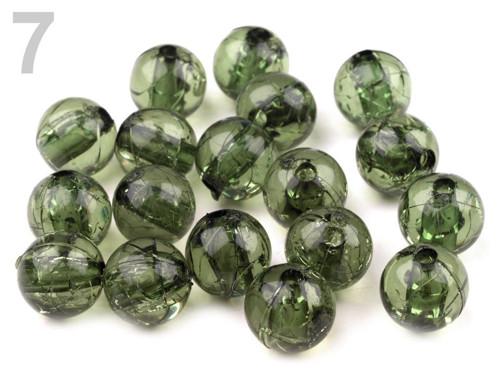 Plastové korálky kraklované Ø10mm (20ks) - olivová