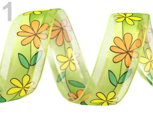 Stuha monofilová š.25mm květy