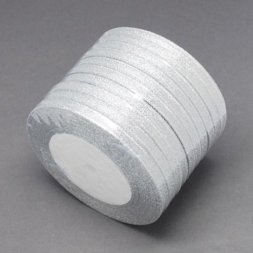 stuha lurexová/6mm/ stříbrná/ 22,5m / 1Ks