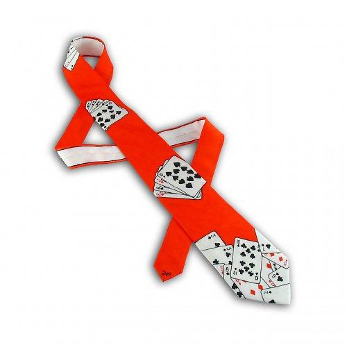 Hedvábná kravata s kartami - červená
