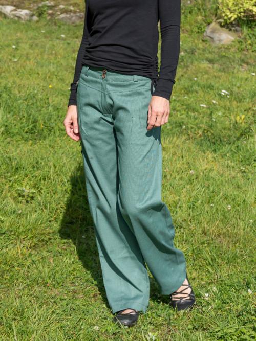 zelené bavlněné kalhoty