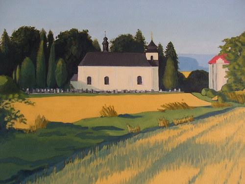 Kostel a škola v Bílé Lhotě, 50 x 70 cm