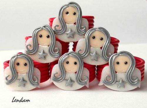 Vánoční kroužky na ubrousky Andělky- sada 6ks