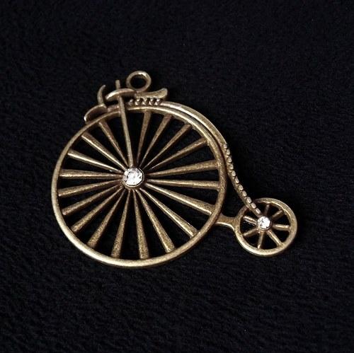 Vintage přívěšek s kamínky  - velocipéd