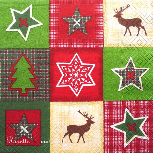 Vánoční symboly na červeno-zeleném - ubrousek