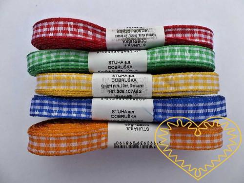 Úzká textilní stuha kostičky - šíře 1 cm, d 10 m
