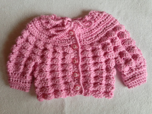 """Růžový svetřík s knoflíčky \""""rybí očko\"""""""