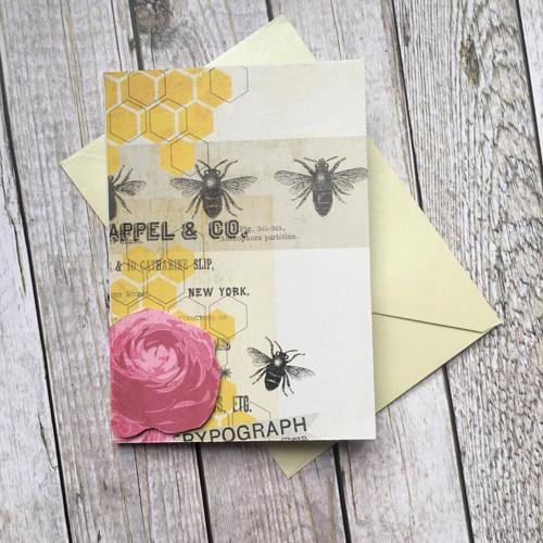 Přání pro včelaře s květinou