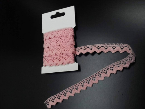 Bavlněná krajka 15 mm, návin 3m, světle růžová