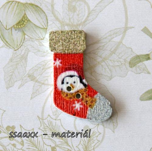 Dřevěný knoflík ~ 30 mm ~ vánoční punčocha II