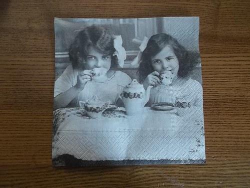 Ubrousek na decoupage - snídaně vintage