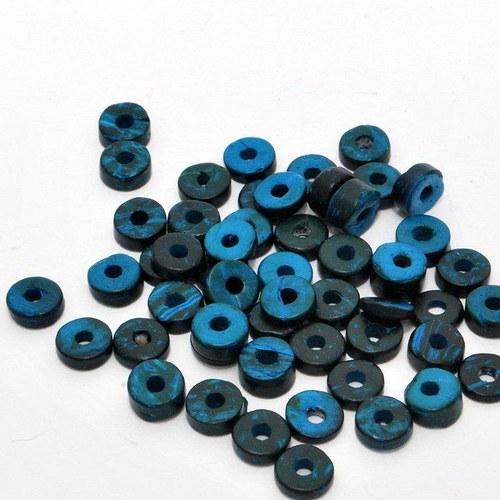 Kokosové heishi modré volné malé / 30 ks
