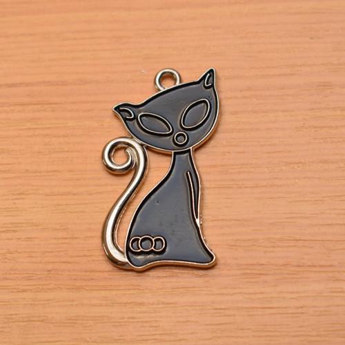Kočka - starostříbrná - 23x40mm
