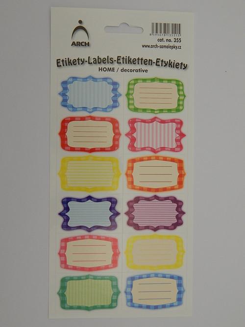 Samolepky etikety rámečky
