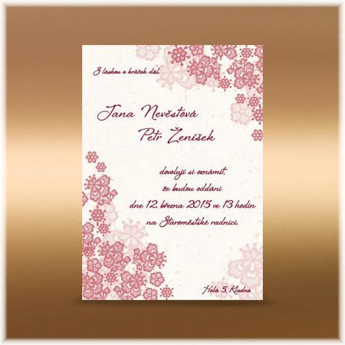 Svatební oznámení krajkové kytičky starorůžová