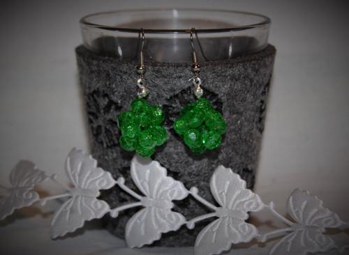 Naušnice kouličky zelené