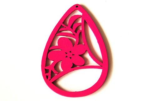 Dřevěné kapky- sytě růžové