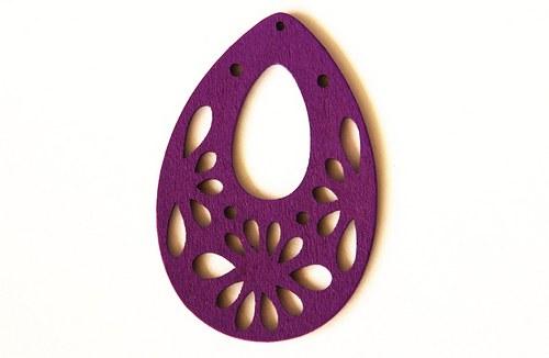 Dřevěné kapky- fialové