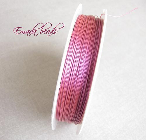 Bižuterní lanko, ocelové růžová, 0,38 mm