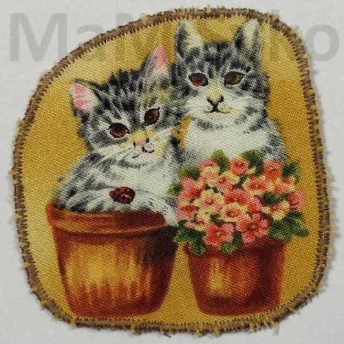 Nažehlovací záplata kočičky v květináči - SLEVA