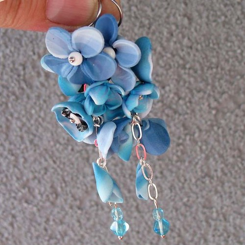 Květinový závěs do modra - náušnice