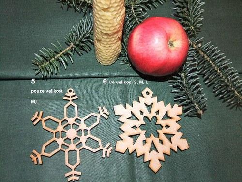 Vánoční dřevěné ozdoby VLOČKY 5 a 6/velikost M
