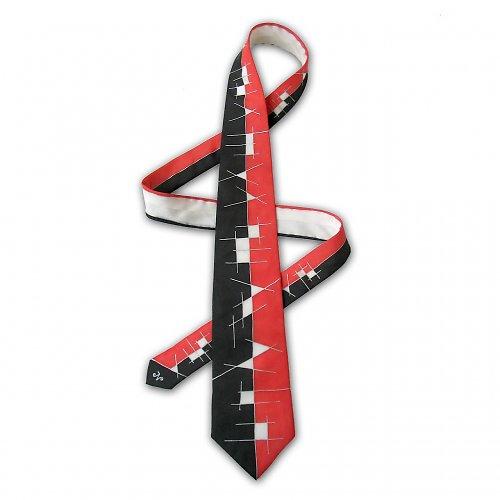 Červeno-černá hedvábná kravata s čárami