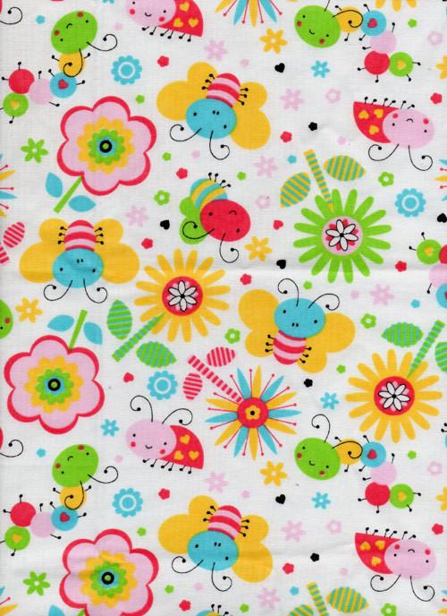 Látka, dětské, včeličky, broučci, barevné