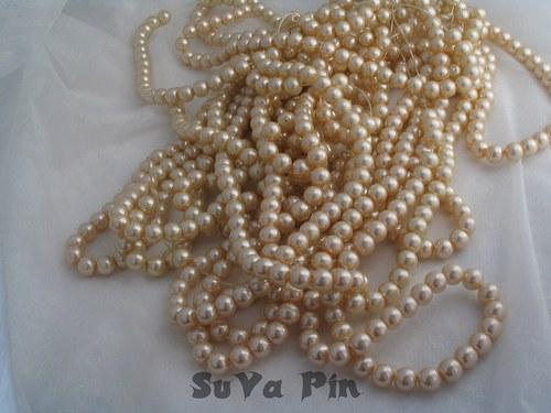 Voskované perly barva šampaňské 8mm; 40 ks