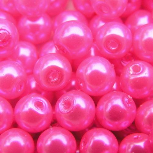 8 mm voskové perle zářivě růžové A 20 ks