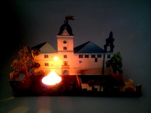 Kovový ručně malovaný svícen Hrubý Rohozec