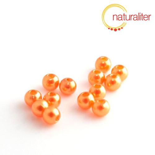 Voskované perly, oranžové, 4mm, 100ks