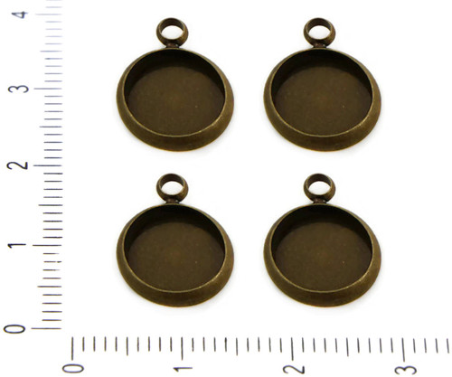 4ks Starožitné Bronzové Plochý Kulatý Kabošon Přív
