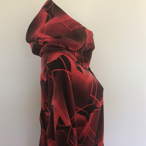 Mikina-červená & žíhaná 52-54