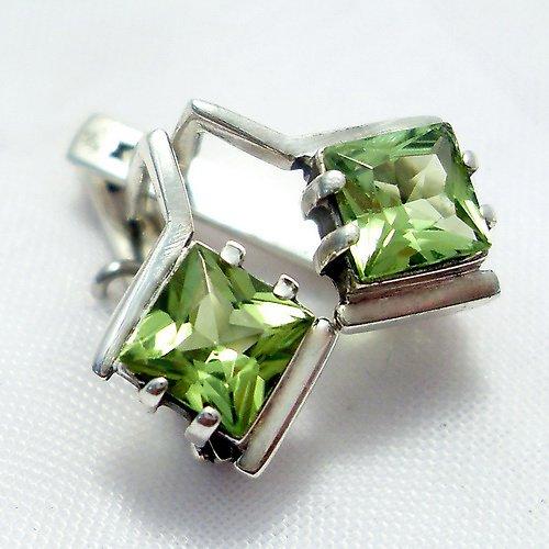 Náušnice «Mini» - stříbro 925, přírodní olivín