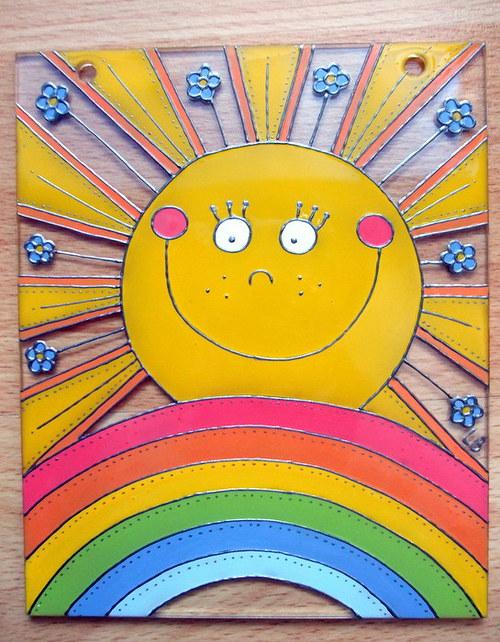 Skleněný závěs - sluníčko s duhou