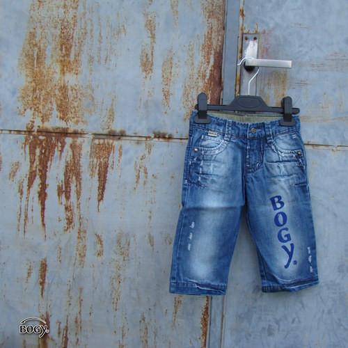 SLEVA chapecké modré džíny s Bogy potiskem
