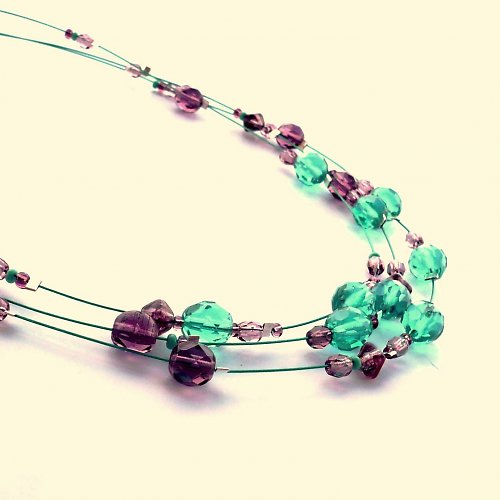 Fialovotyrkysový náhrdelník