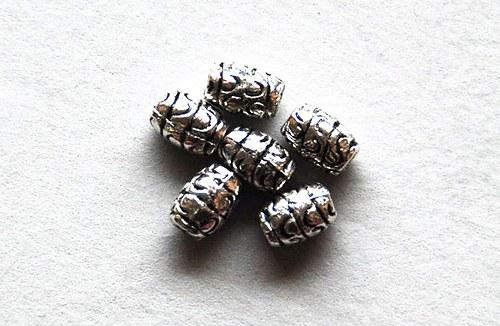 6ks kovové korálky 5x7mm
