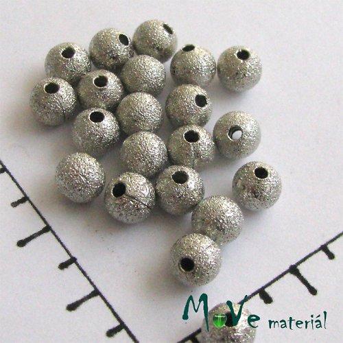 Korálek kovový zvrásněný Ø 6mm, platina, 2ks