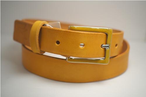 Kožený pásek 3,5 cm-žlutá -SKLADEM