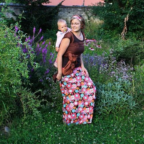 Dlouhá sukně VELKÉ KVĚTY (možno i jako těhotenská)